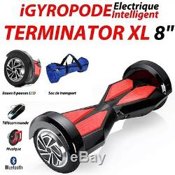 Gyropode Bluetooth LED Self Balancing 8 pouces rouge
