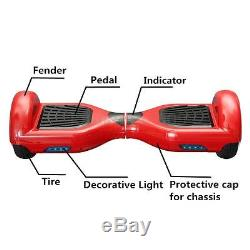 Skate Board Scooter Electrique Auto 2 Wheels Equilibrage Monocycle Balance Rouge
